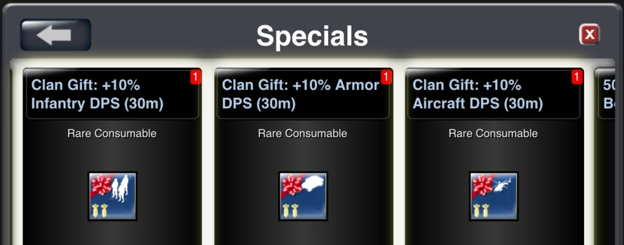 Clan gift boost items are available for Hardware in the Specials Store
